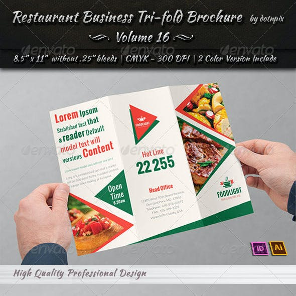 Restaurant Business Tri-Fold Brochure | Volume 16