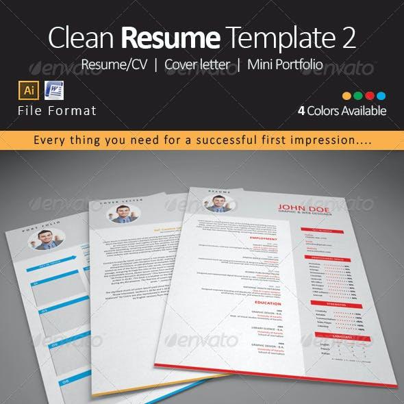 Clean Resume CV Template 2