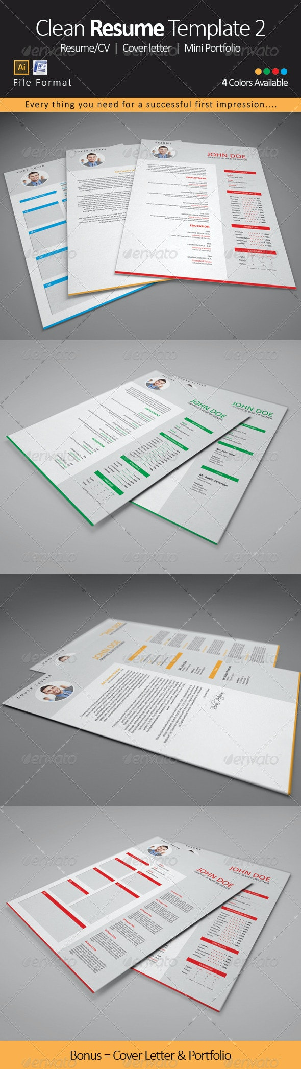 Clean Resume CV Template 2 - Resumes Stationery