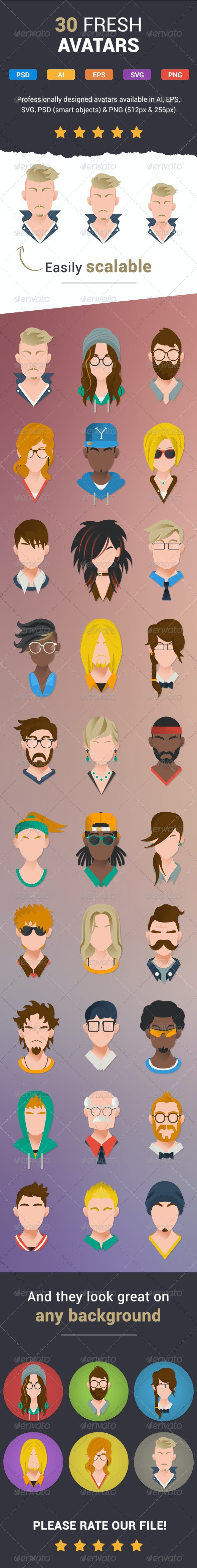 30 Modern User Icons - Characters Icons