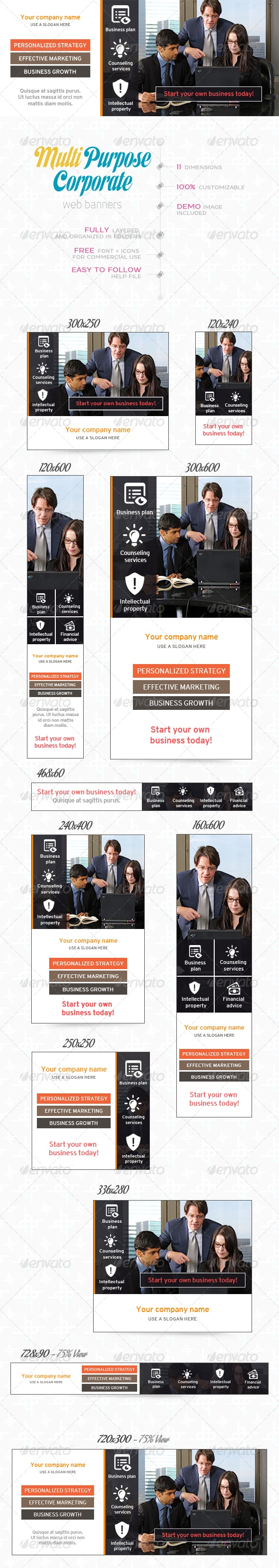 Multi Purpose Corporate Banner Set - Banners & Ads Web Elements