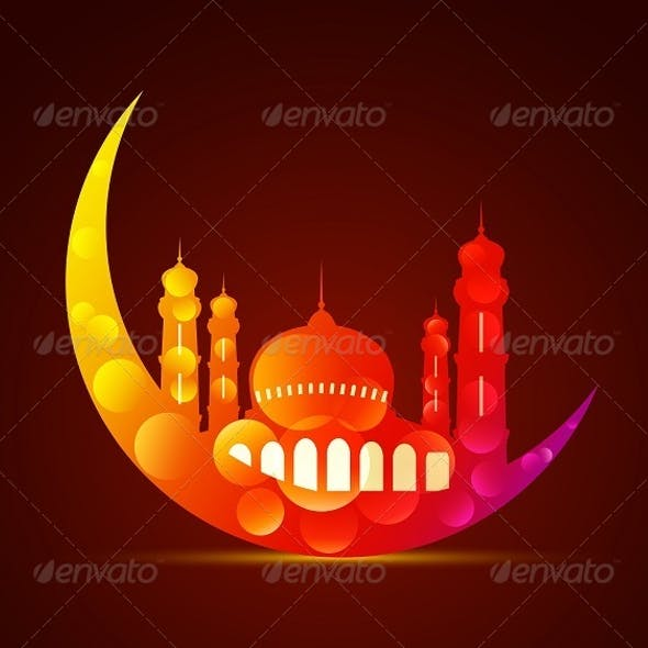 Colorful Moon with Mosque