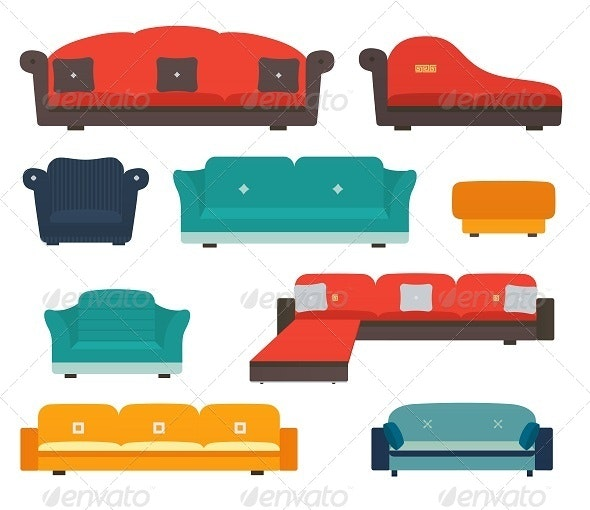 Armchairs and sofas flat style - Man-made Objects Objects