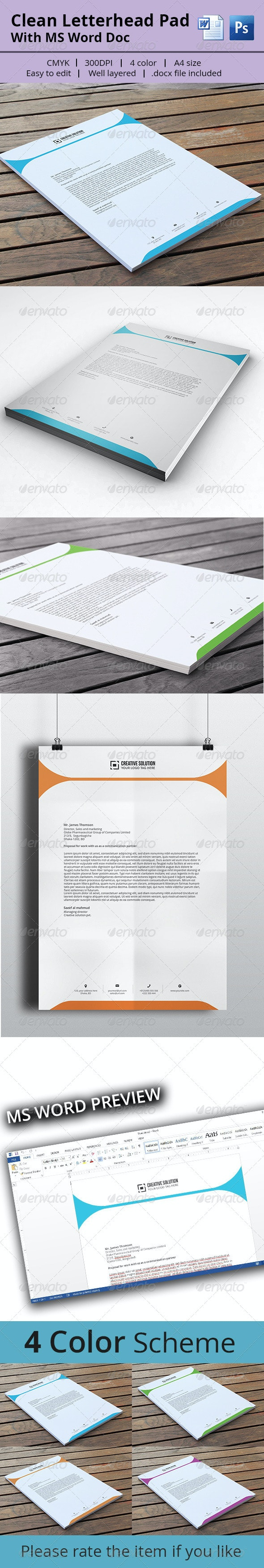 Letterhead Pad With MS Word - Stationery Print Templates