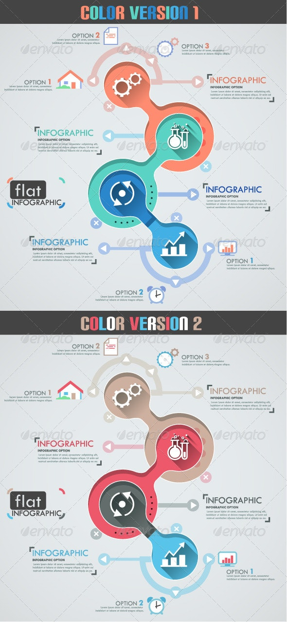 Flat Infographic Template (Two Versions) - Infographics