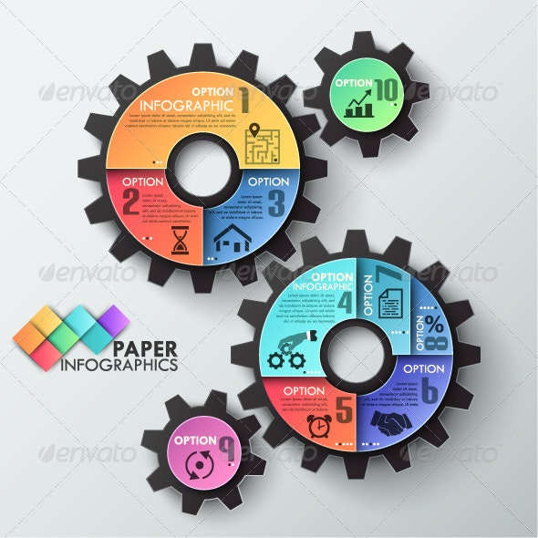 Paper Infographic Template With 3 Gears - Infographics