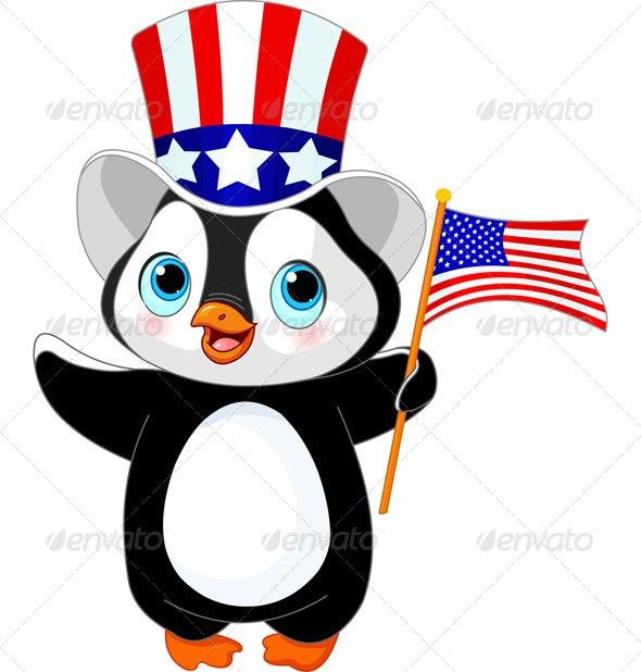 Patriotic Penguin  - Animals Characters