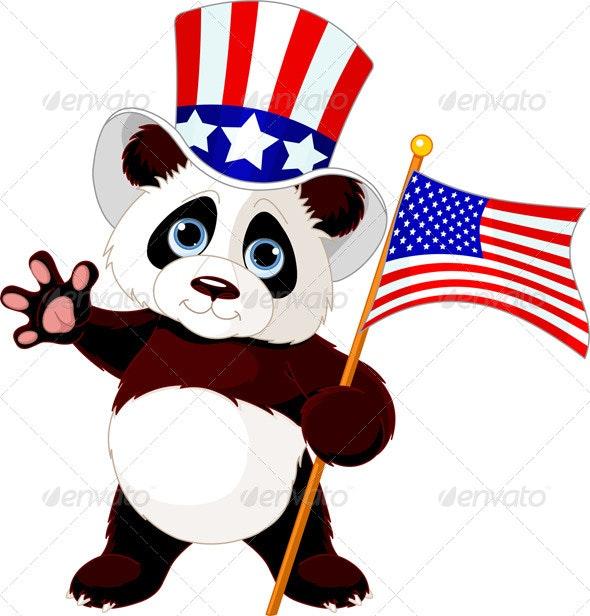 Panda Holding American Flag - Animals Characters
