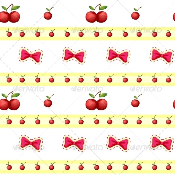 Seamless Design with Cherries and Ribbons - Backgrounds Decorative