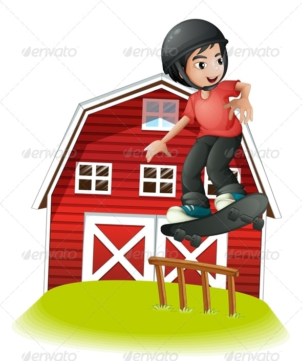 Boy Skating in Front of a Red Barnhouse - Sports/Activity Conceptual