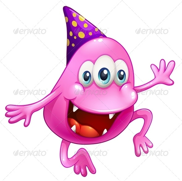 Pink Beanie Monster Celebrating - Monsters Characters