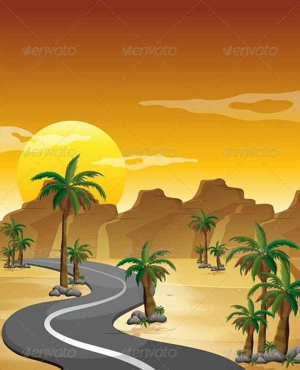 Desert with a Long and Winding Road - Landscapes Nature