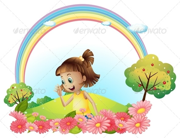 Smiling Girl in a Garden with Pink Blooming Flowers - People Characters