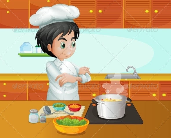 Male Chef Cooking in the Kitchen - People Characters