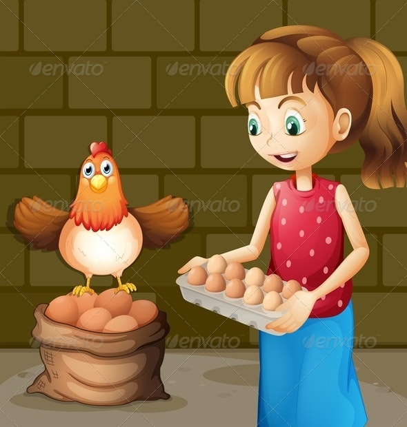 Farmer's Wife Collecting Eggs - People Characters