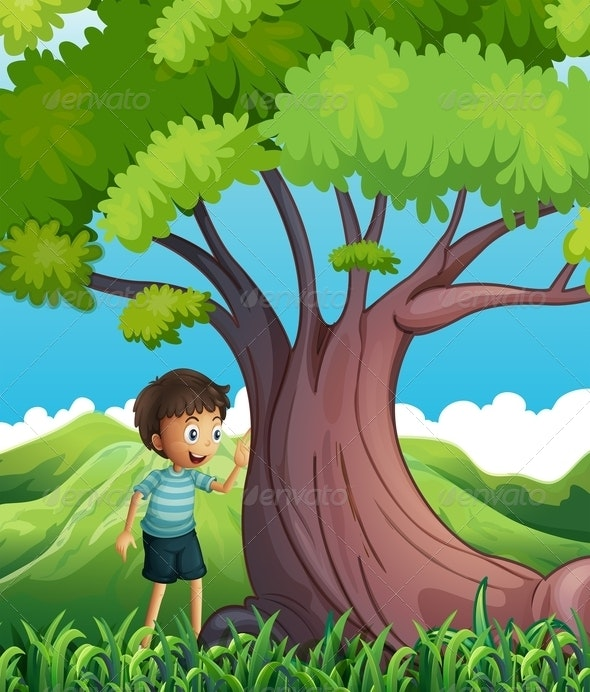 Young Boy Beside a Huge Tree - People Characters