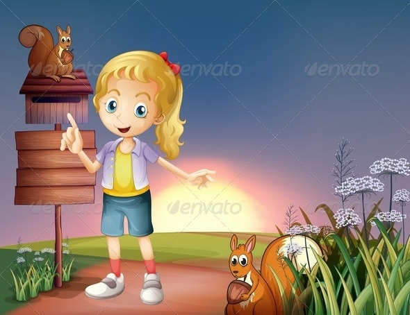 Girl on a Hilltop with Two Squirrels - People Characters