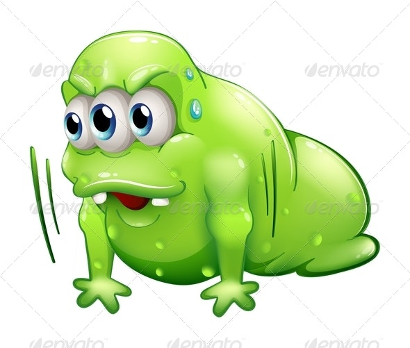 A Green Slime Monster Doing the Push-Up Exercise - Monsters Characters
