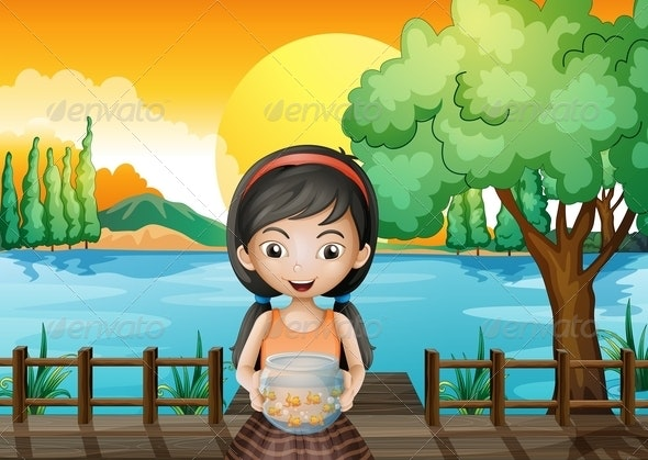 A Girl at the Bridge Holding an Aquarium - People Characters
