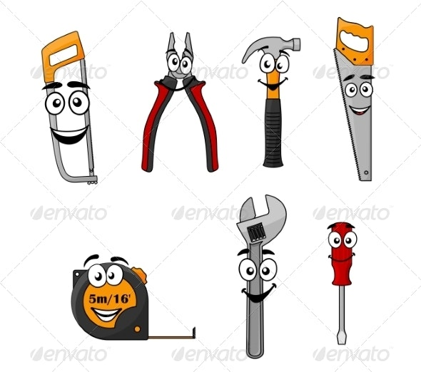 Set of Cartoon DIY Hand Tools - Man-made Objects Objects