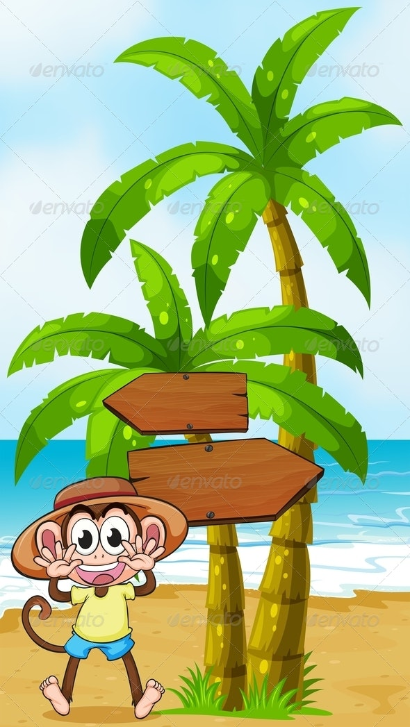 A Monkey at the Seashore Near the Wooden Arrowboard - Animals Characters
