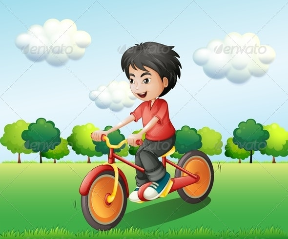 Happy Boy Biking - People Characters