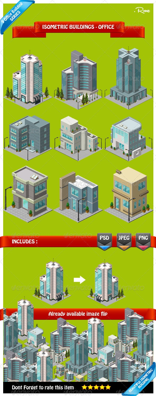 Isometric Building - Office - Objects Illustrations