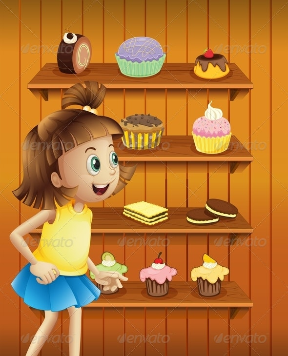 Happy Girl with Cupcakes and Cookies - People Characters