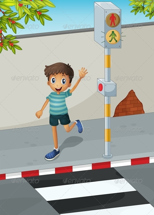 Boy at the Crosswalk  - People Characters