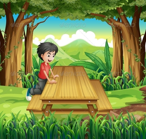 Boy at Picnic Table  - People Characters