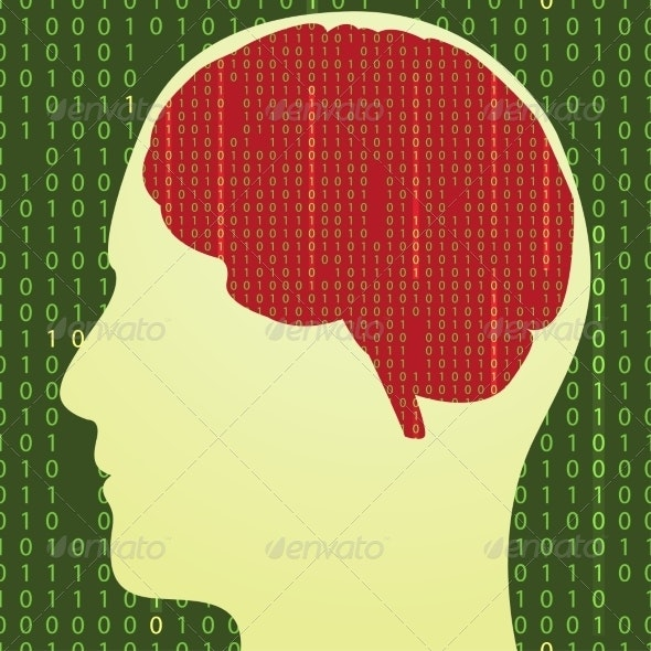 Silhouette of the Brain with Binary Code - Miscellaneous Vectors