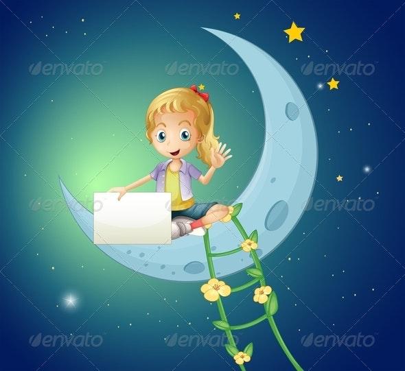 Girl sitting on Moon  - People Characters