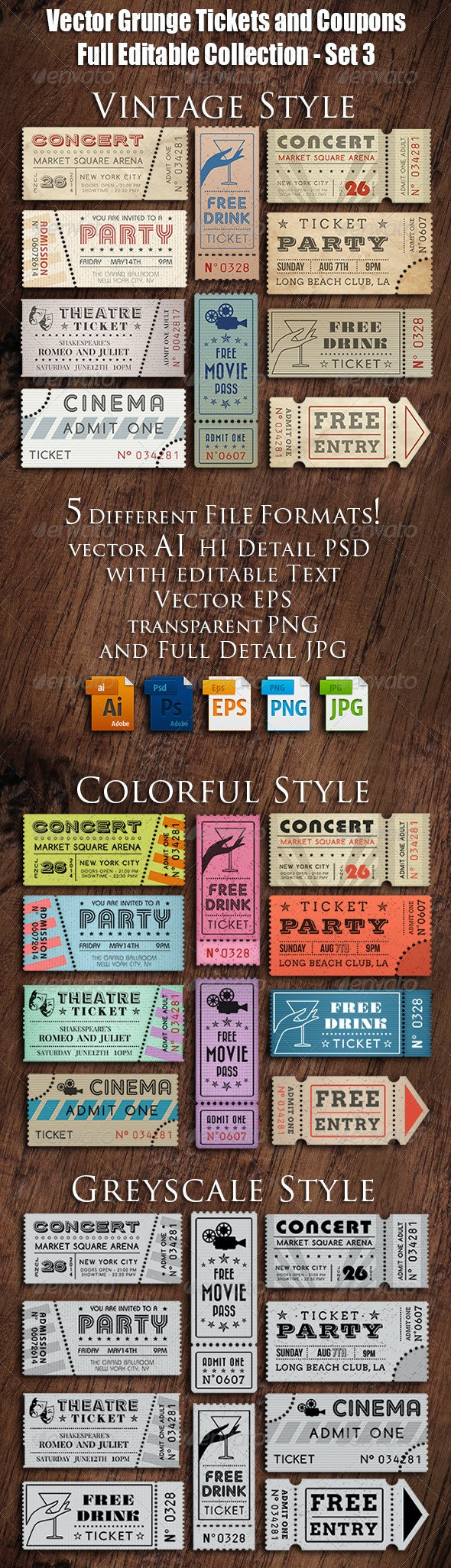 Vector Grunge Tickets and Coupons 3 - Seasons/Holidays Conceptual