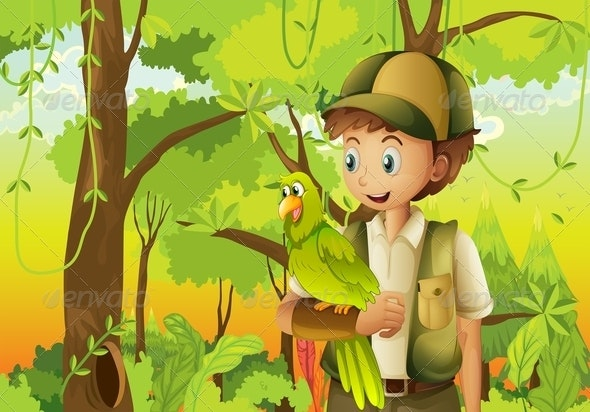 Scout with Parrot  - People Characters