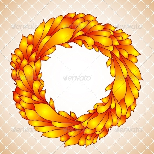 Floral Wreath of Yellow Autumn Leaves - Flowers & Plants Nature