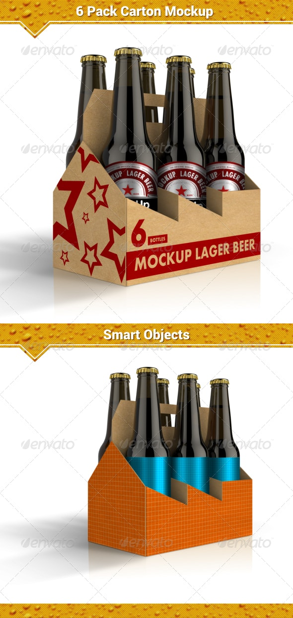 6 Pack Carton Mock Up By Fusionhorn Graphicriver