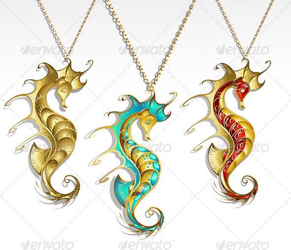Three Gold Seahorses - Decorative Symbols Decorative