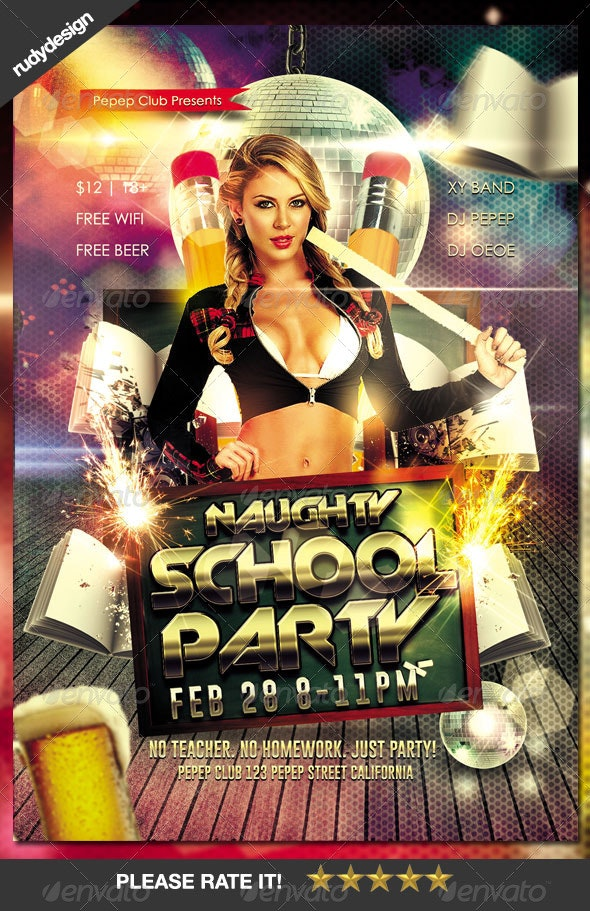 Naughty School Party Flyer - Clubs & Parties Events