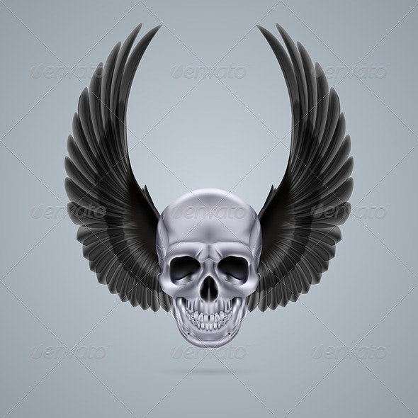 Metal Chrome Skull with Two Wings Up - Monsters Characters