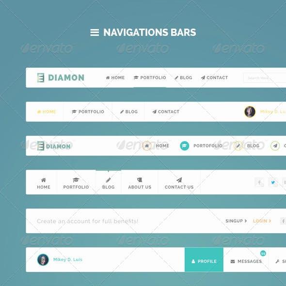 Diamon Flat Navigation Bars