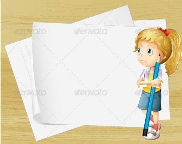 Girl with Pencil and Empty Paper - Borders Decorative