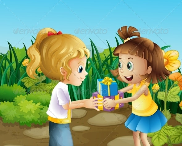 Friends Exchanging Gifts - People Characters