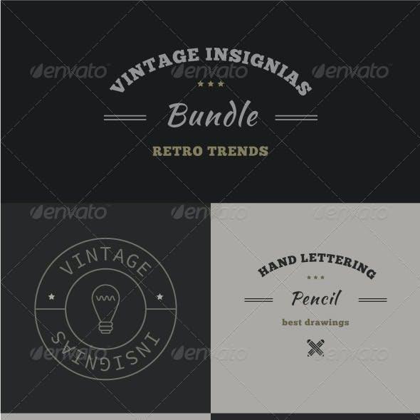 34 Trendy Retro Vintage Insignias Bundle