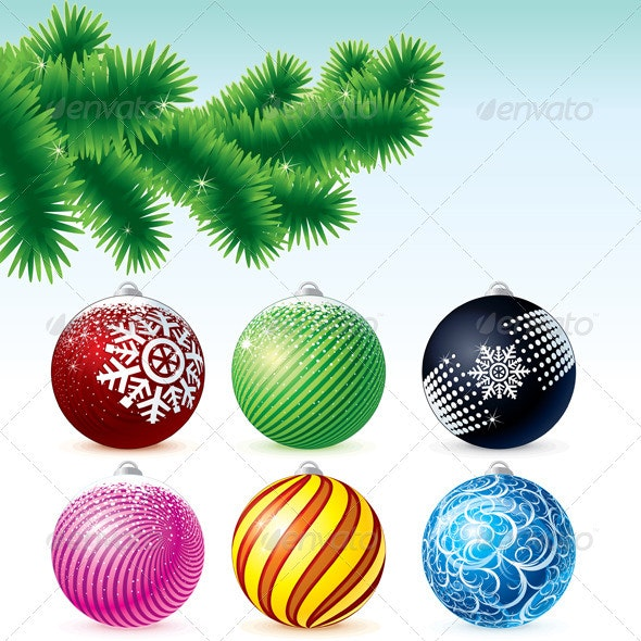 Pine Branch with Baubles - Characters Vectors