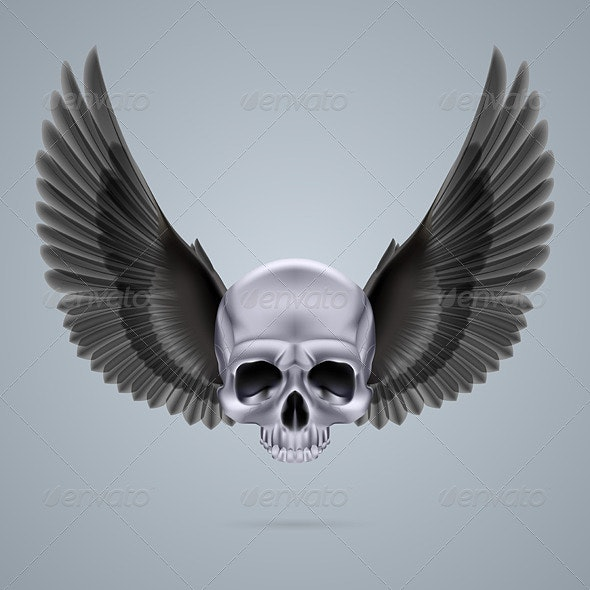 Metal Chrome Skull with Two Wings - Monsters Characters