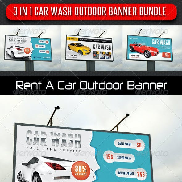 3 in 1 Car Wash Outdoor Banner Bundle 01