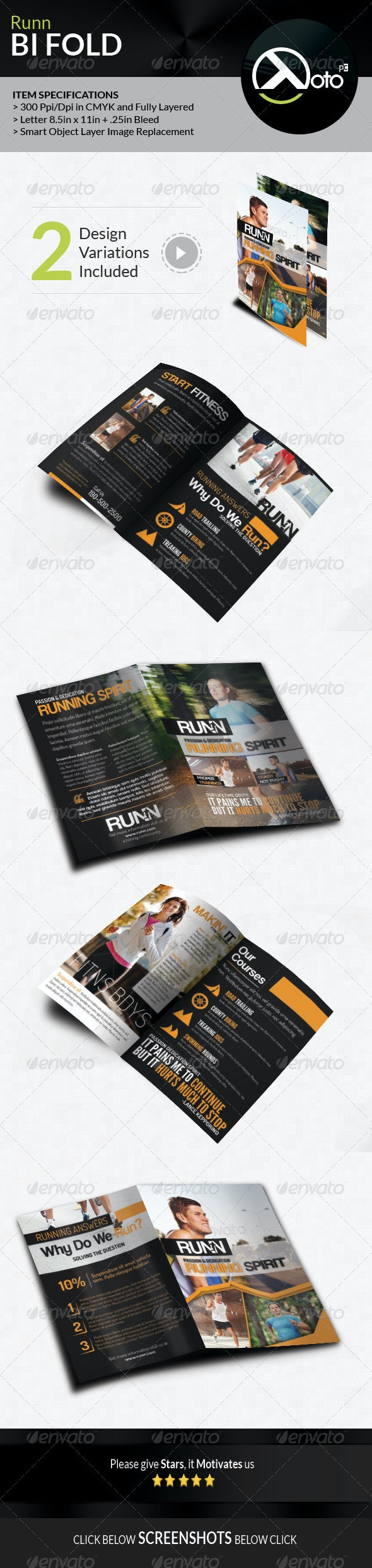 Runn Marathon Running Club Fitness Bifold Brochure - Brochures Print Templates