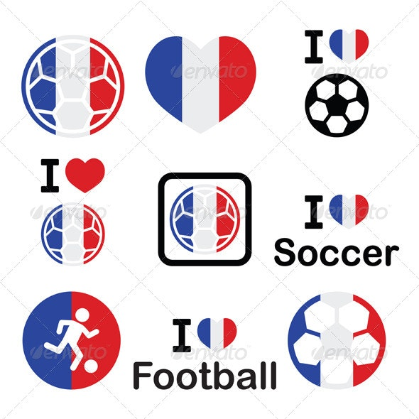 I Love French Football, Soccer Icons Set - Sports/Activity Conceptual