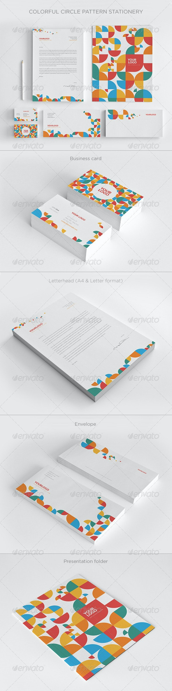 Colorful Circle Pattern Stationery - Print Templates