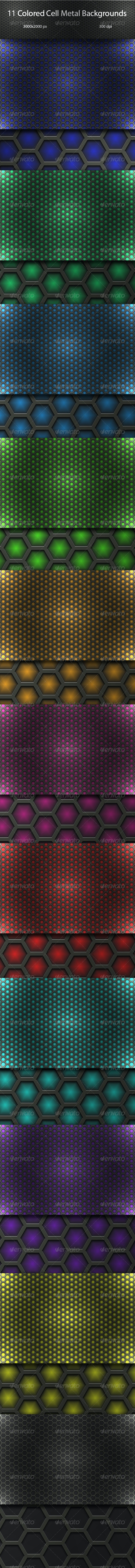 Colored Cell Metal Backgrouds Set - Backgrounds Graphics